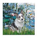 Lilies (#1) - Corgi (Bl.M) Tile Coaster