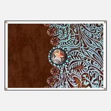 Western turquoise tooled leather Banner