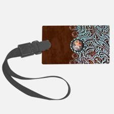 Western turquoise tooled leather Luggage Tag