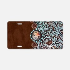 Western turquoise tooled le Aluminum License Plate