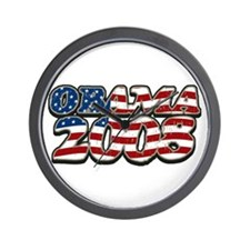 Retro Flag Obama 2008 Wall Clock