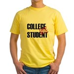 Off Duty College Student Yellow T-Shirt