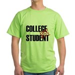 Off Duty College Student Green T-Shirt