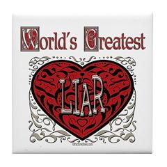 World's Best Liar Tile Coaster