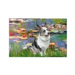 Lilies (#2) - Corgi (Bl.M) Rectangle Magnet (10 pa