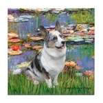 Lilies (#2) - Corgi (Bl.M) Tile Coaster