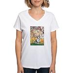 Spring - Corgi (Bl.M) Women's V-Neck T-Shirt