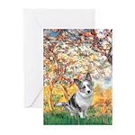 Spring - Corgi (Bl.M) Greeting Cards (Pk of 20)