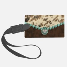 cow hide western leather Luggage Tag