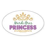 Mardi Gras Princess Oval Sticker
