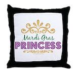 Mardi Gras Princess Throw Pillow