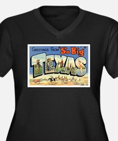 Greetings from Texas Women's Plus Size V-Neck Dark