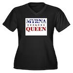MYRNA for queen Women's Plus Size V-Neck Dark T-Sh