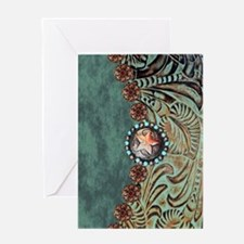 Country Western turquoise leather Greeting Cards