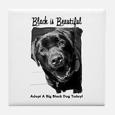 Adopt a Big Black Dog Tile Coaster