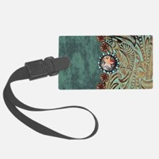 Country Western turquoise leathe Luggage Tag