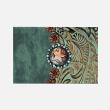 Country Western turquoise leather Magnets