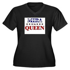 MIRA for queen Women's Plus Size V-Neck Dark T-Shi