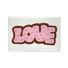 Pink/Chocolate Brown Love Letters Rectangle Magnet