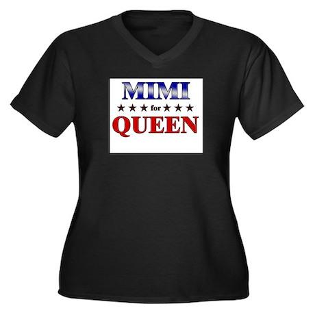 MIMI for queen Women's Plus Size V-Neck Dark T-Shi