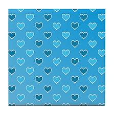 Blue Heart Pattern Tile Coaster