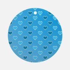 Blue Heart Pattern Ornament (Round)