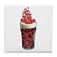 Beer Full Of Hearts Tile Coaster