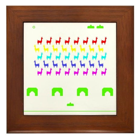 Llama Invaders Framed Tile