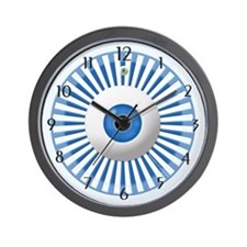 Blue Stripe Circle with Eyeball Home Wall Clock