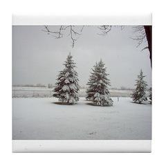 Snow on Trees Tile Coaster
