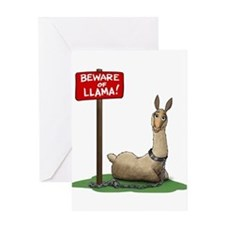 Beware of Llama Greeting Cards