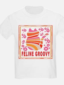 Feline Groovy (orange/pink) Kids T-Shirt