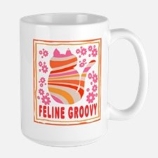 Feline Groovy (orange/pink) Mug