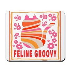Feline Groovy (orange/pink) Mousepad