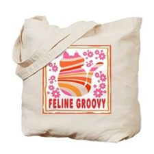 Feline Groovy (orange/pink) Tote Bag