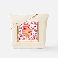 Feline Groovy (orange/pink) Tote Bag