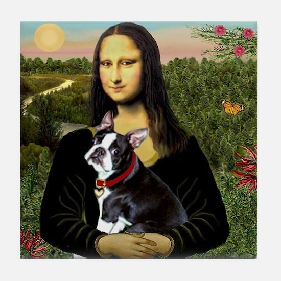Mona Lisa's Boston Terrier Tile Coaster