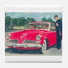 Red Studebaker on Tile Coaster