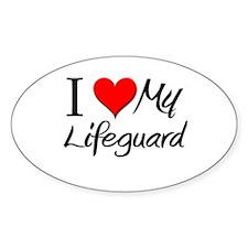 I Heart My Lifeguard Oval Decal