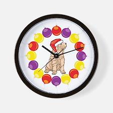 Christmas Wreath Shar Pei Wall Clock