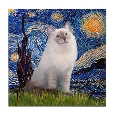 Starry Night / Ragdoll Tile Coaster