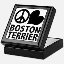 Peace Love Boston Terrier Keepsake Box