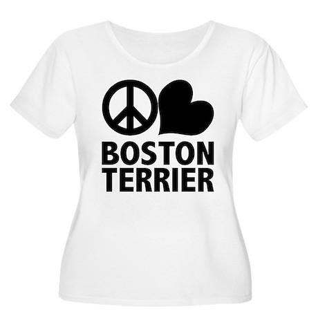 Peace Love Boston Terrier Women's Plus Size Scoop