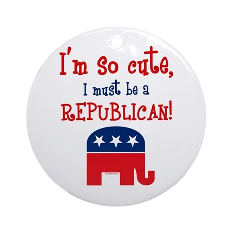 So Cute Republican Ornament (Round)