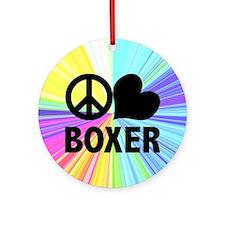 Peace Love Boxer Ornament (Round)