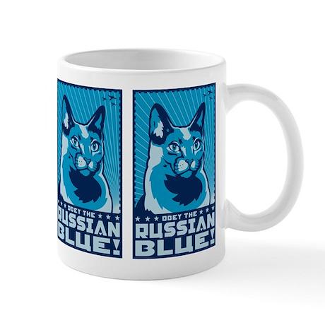 Obey the Russian Blue! Propaganda Cat Mug