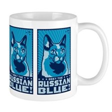 Obey the Russian Blue! Propaganda Cat Small Mug