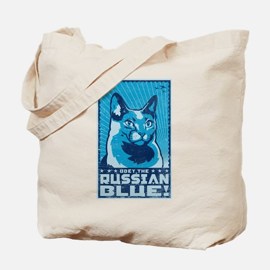 Obey the Russian Blue! Cat Tote Bag