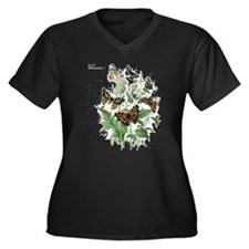 Butterfly 17 Women's Plus Size V-Neck Dark T-Shirt
