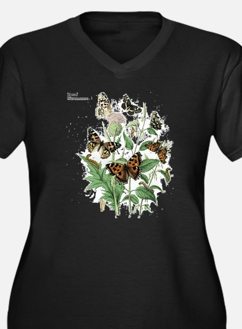 Butterfly 17 Women's Plus Size V-Neck Dark T-Shirt
